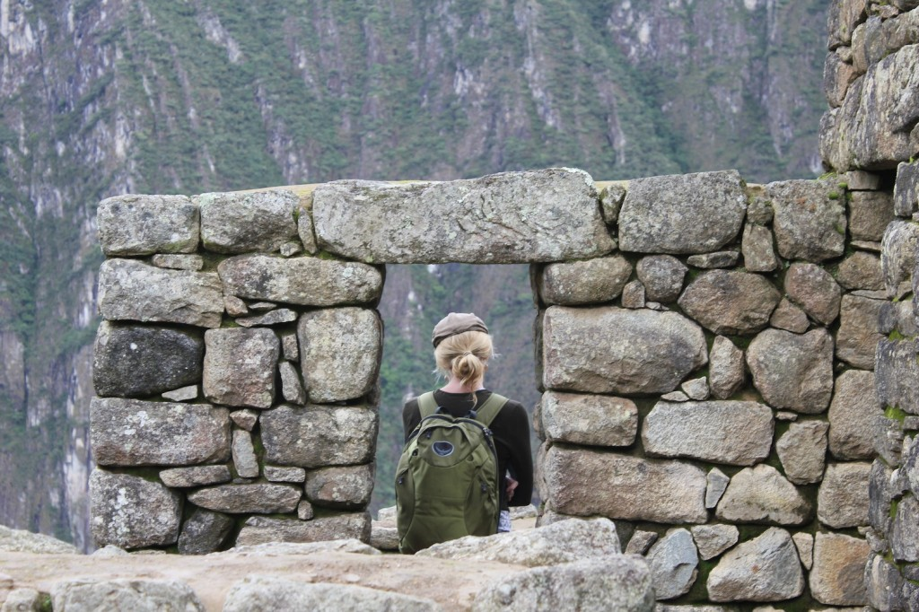 Kelly reflecting on the surrounding natural wonders of Machu Picchu, photo by Udi