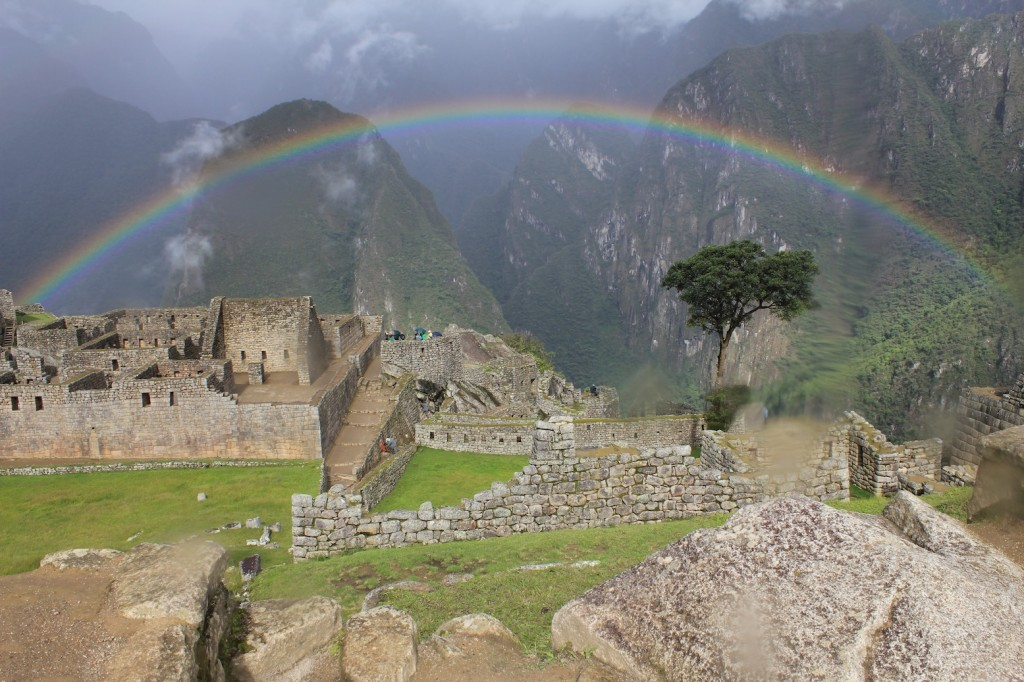 Surreal rainbow scene unveiled at Machu Picchu after a sudden rainshower, photo by Udi.