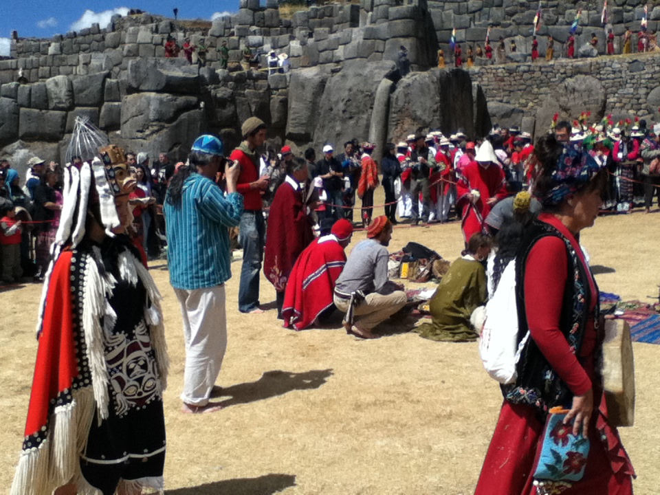 Photo taken in 2011 at the International WINHEC (World Indigenous Nations Higher Education Consortium) Education gathering.  An international ceremony took place at Saqsaywaman to celebrate the occasion with indigenous (and non-indigenous) peoples from all over the world.