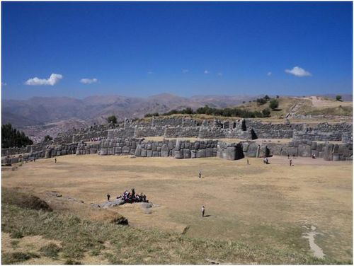 This is wider view of the flat and open area in the middle of Saqsayhuaman where the majority of the ceremony took place and where we greeted the sun.  The photo is from Melissa, posted on  the 20th June, 2011 'In Awe of Cusco and Machu Picchu' on the CIEE Study Abroad in Peru blog - http://study-abroad-blog-lima-la.ciee.org