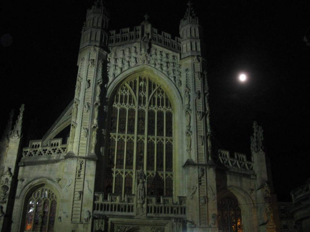 A picture I took of Bath Abbey and the full moon.