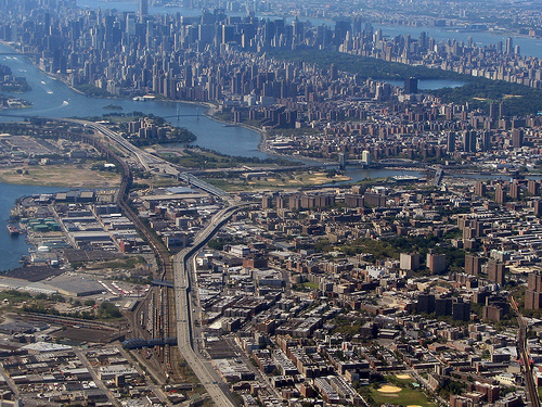 Photo of the Bronx and Manhattan, taken from New York City (shot from above the Bronx) published on flickr - http://www.flickr.com/photos/dandc/2836519688/
