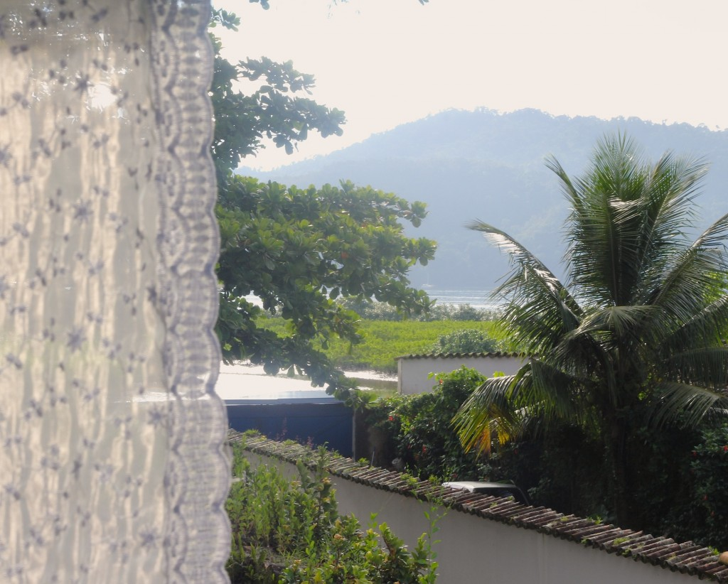 View of the sea and mountains from the room we slept in, Paraty, photo by Kelly