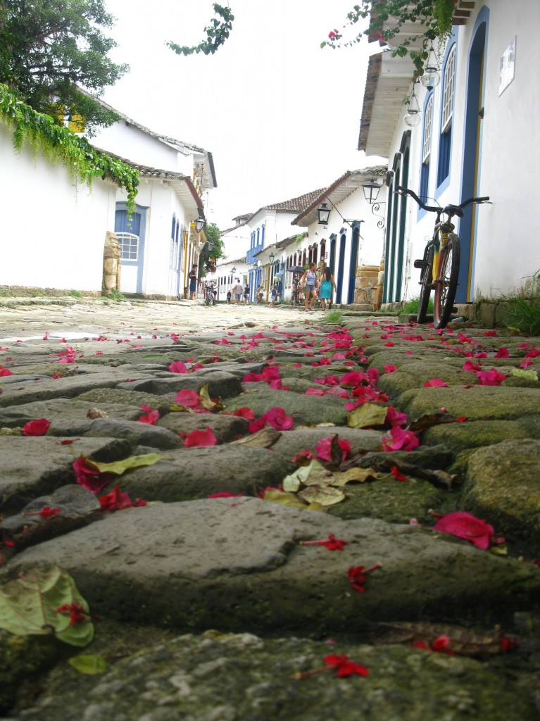 Flower petals in Paraty cobblestone, photo by Marina
