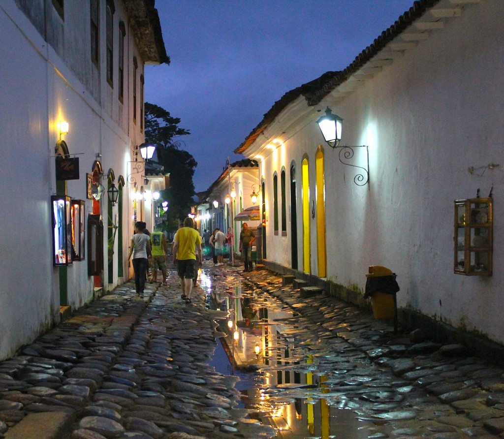 Entering the old and historic section of Paraty on a rainy night, photo by Udi